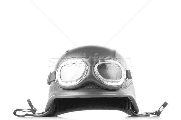 Exército estilo motocicleta capacete óculos de proteção preto Foto stock © kokimk