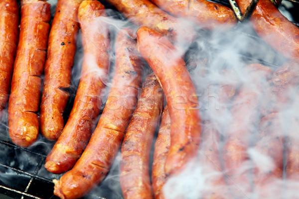 Sosis pişmiş sıcak ızgara et yağ Stok fotoğraf © kokimk