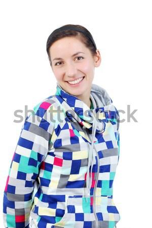 Mutlu kız gülen yalıtılmış beyaz kadın gülümseme Stok fotoğraf © kokimk