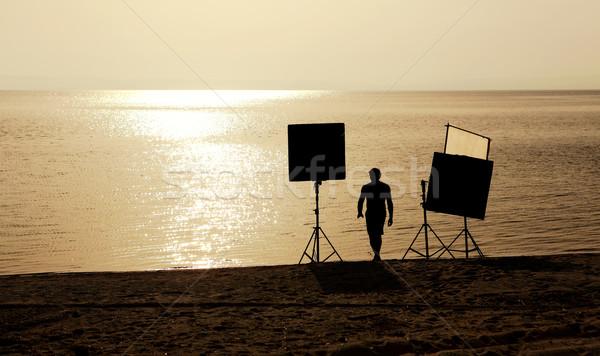 Film Crew up Szene Strand Business Stock foto © kokimk