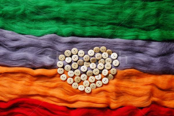 Wełny przyciski sylwetka serca tekstury projektu Zdjęcia stock © koldunov