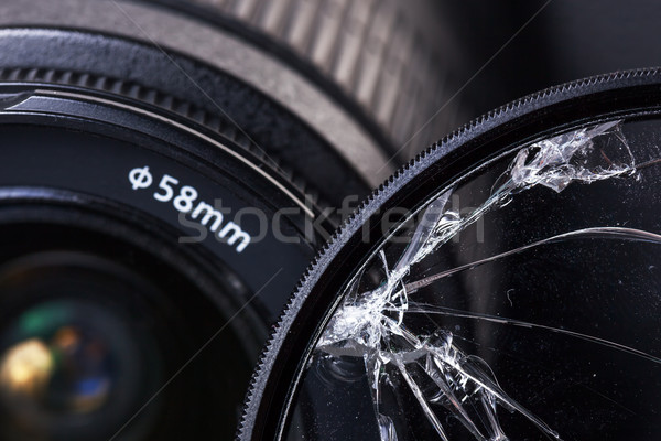 Broken glass, damaged equipment for photographing - the loss and failure Stock photo © koldunov