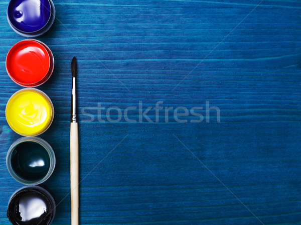Paints and brushes for the development of creative talents Stock photo © koldunov