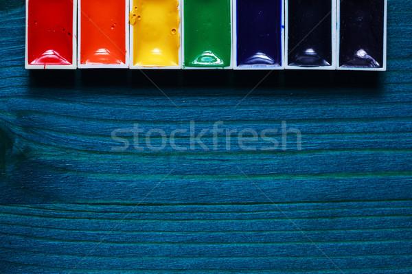 ツール 工芸 水彩画 木製 青 ストックフォト © koldunov