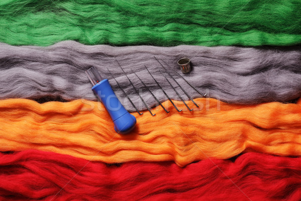 Multi-colored wool for felting and needles- handicraft items Stock photo © koldunov
