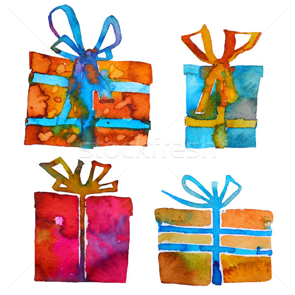 Watercolor Christmas set with gift boxes, isolated on white background. Watercolor art. Raster versi Stock photo © kollibri