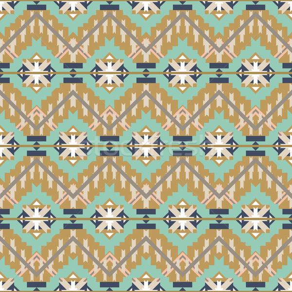 Colorful aztec seamless pattern. Ethnic abstract geometric texture. Hand drawn navajo fabric. Aztec  Stock photo © kollibri