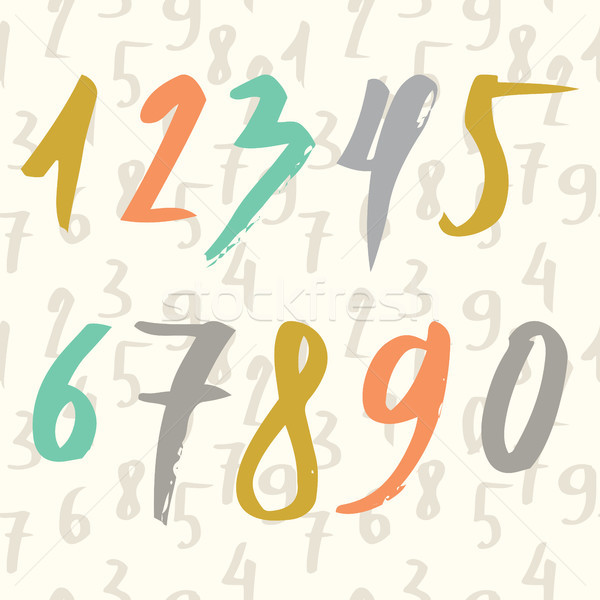 Hand drawn numbers made by brush and seamless pattern with numbers. Modern Brushed. Education. Vecto Stock photo © kollibri