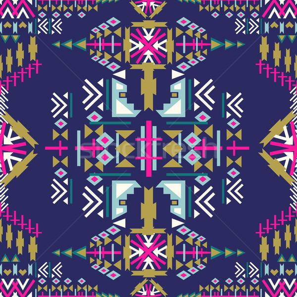 Colorful Navajo seamless pattern. aztec abstract geometric print. ethnic hipster backdrop. Aztec sti Stock photo © kollibri