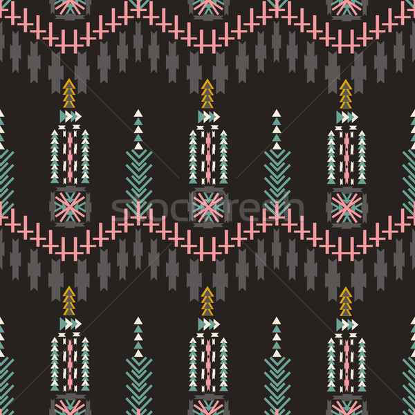 Colorfull  aztec seamless pattern on dark background. Ethnic abstract geometric texture. Hand drawn  Stock photo © kollibri