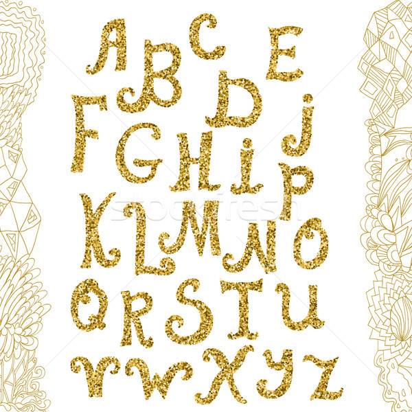 Golden glitter alphabet and doodle backdrop. Vector alphabet. Hand drawn calligraphy letters. Letter Stock photo © kollibri