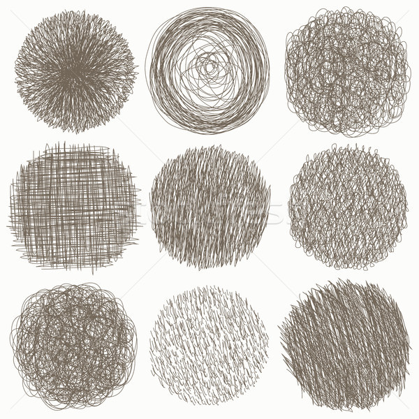 Hand drawn scribble set of doodle circles, isolated on white background. Vector illustration. Sketch Stock photo © kollibri