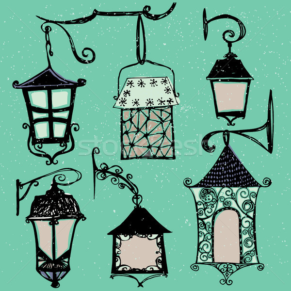 Set of vintage street luminescent lanterns hanging on a decorative brackets. Vector. Outdoor lamp Stock photo © kollibri