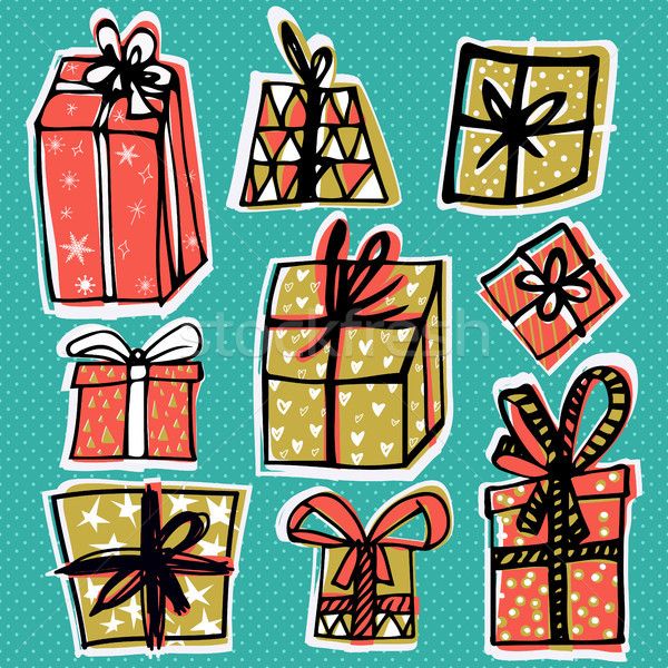 Christmas set with gift boxes, isolated on green background. Stylish set of gifts made in vector. Ha Stock photo © kollibri