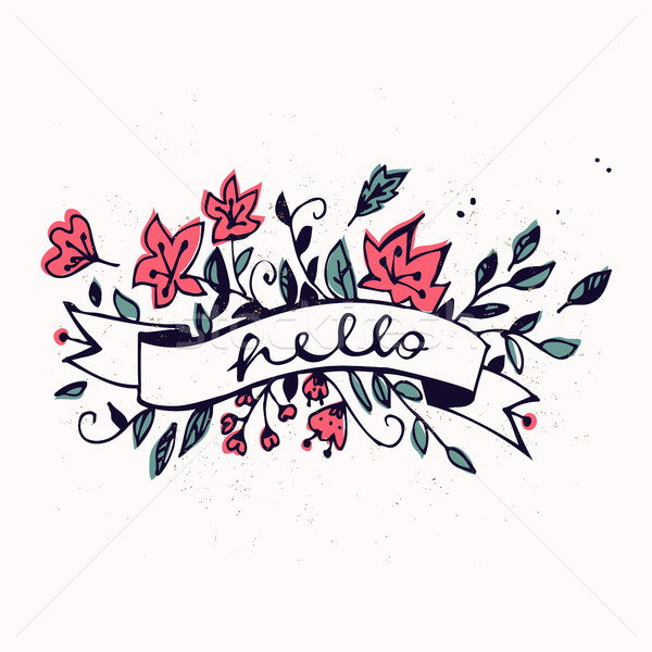 Hello lettering with ribbon and hand drawn spring flowers. Brush Pen lettering Hello isolated on bac Stock photo © kollibri