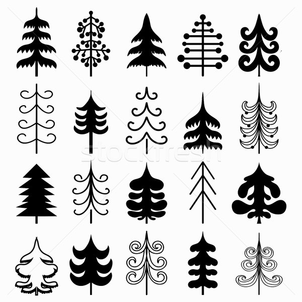 Christmas Tree Set Isolated On White Background Black And White