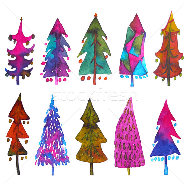 Big collection of watercolor Christmas tree isolated on a white background. Design holiday Christmas Stock photo © kollibri