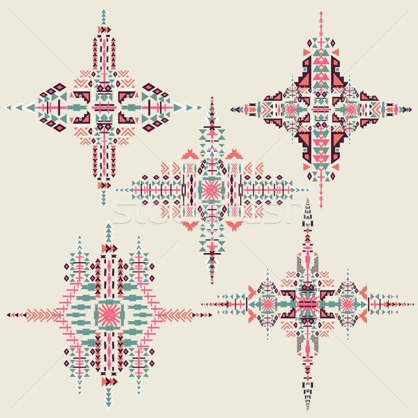 вектора племенных этнических орнамент Элементы Сток-фото © kollibri