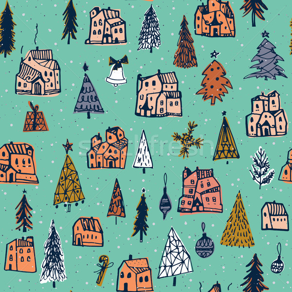Christmas pattern. Vector illustration. Use for Greeting Scrapbooking, Congratulations, Invitations, Stock photo © kollibri