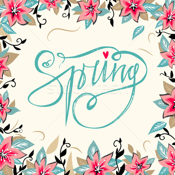 Tavasz kézzel rajzolt tavaszi virágok virágmintás keret évszak Stock fotó © kollibri