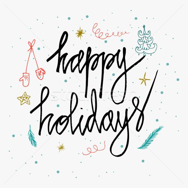 Feliz vacaciones tarjeta aislado blanco Foto stock © kollibri