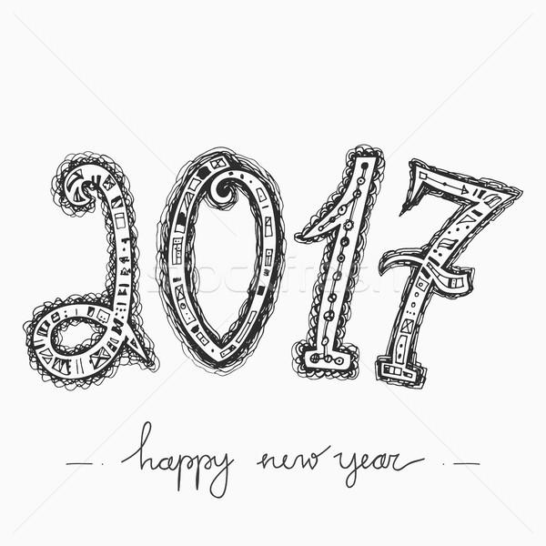 Feliz año nuevo tarjeta de felicitación decorativo números Foto stock © kollibri