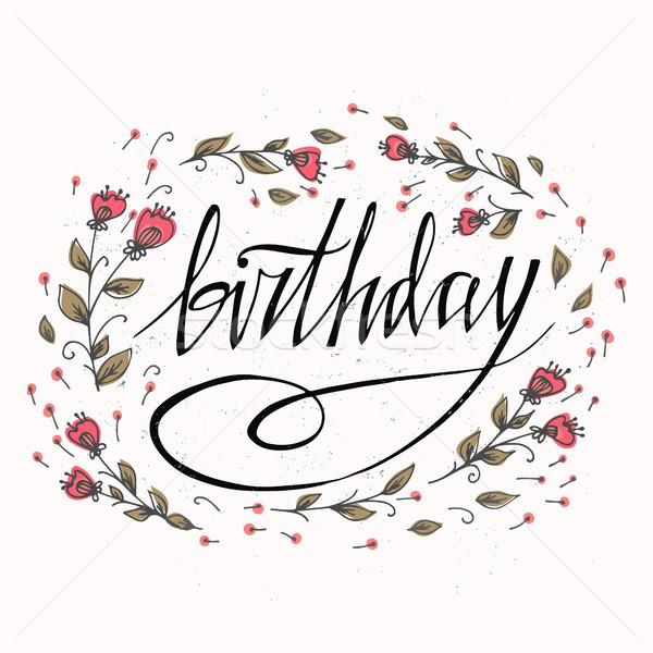 Feliz aniversário cartão flores lata lugar próprio Foto stock © kollibri