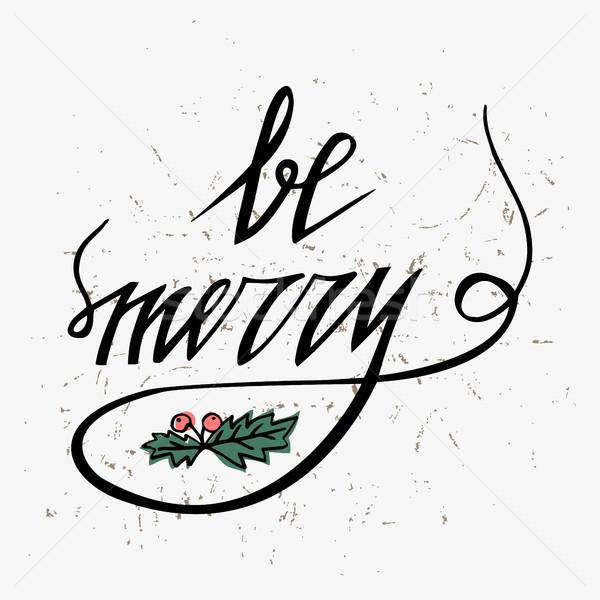 Hand gezeichnet Typografie heiter Weihnachten Mistel rot Stock foto © kollibri