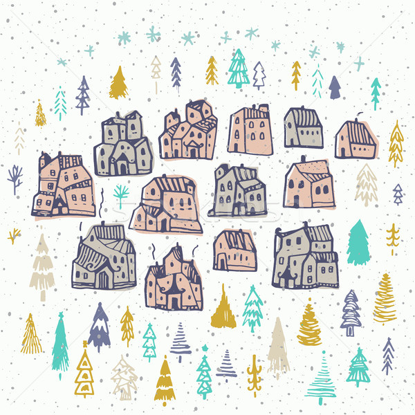 Christmas card with cute houses and tree. Perfect design for congratulation cards, banners and flyer Stock photo © kollibri