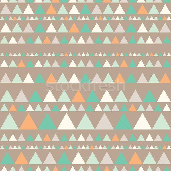 Seamless pattern with triangles. Ethnic abstract geometric texture. Hand drawn navajo fabric. geomet Stock photo © kollibri