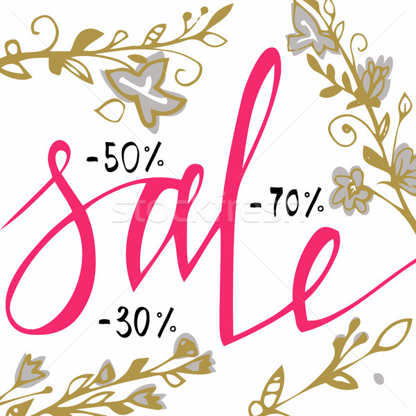 Sale background . Sale background with blossom flowers for flyer, shopping, for sale sign, discount, Stock photo © kollibri