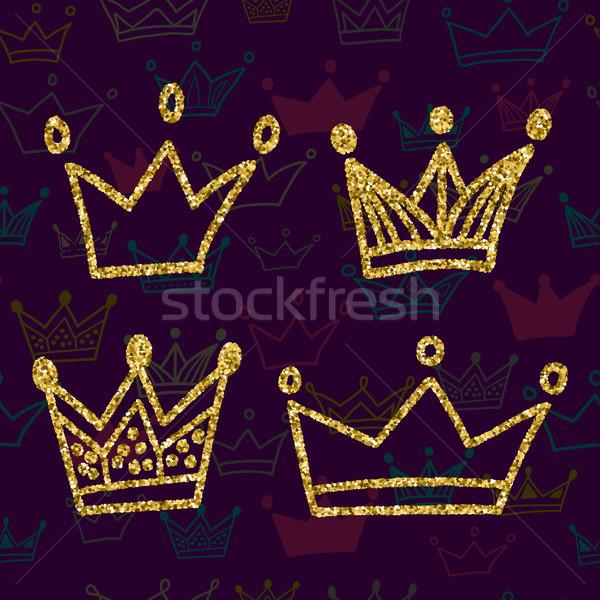 Goud kroon ingesteld geïsoleerd donkere Stockfoto © kollibri