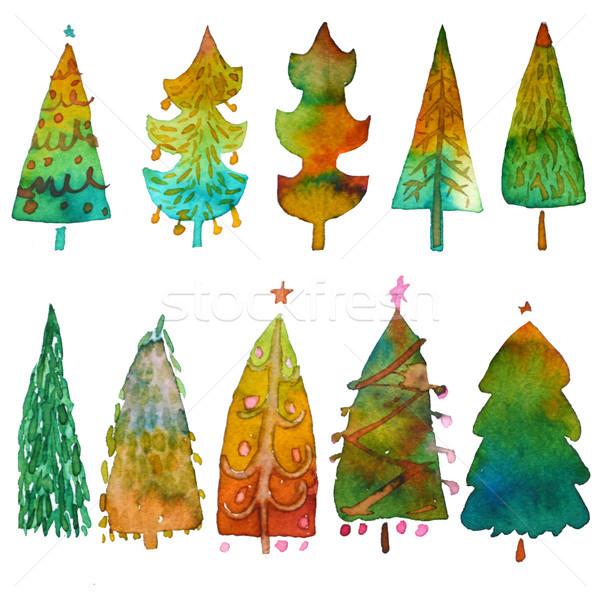 Grande colección acuarela árbol de navidad aislado blanco Foto stock © kollibri