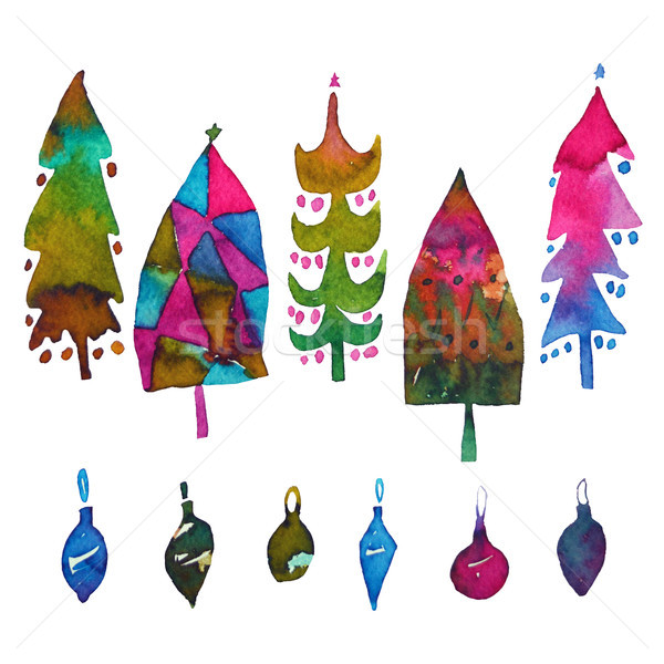 Big collection of watercolor Christmas tree and colorful baubles isolated on a white background. Des Stock photo © kollibri