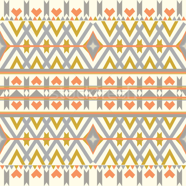 Aztec seamless pattern on pastel background. Ethnic abstract geometric texture. Hand drawn navajo fa Stock photo © kollibri