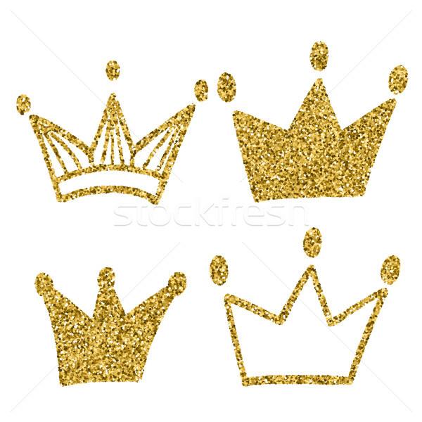 Złota korony zestaw odizolowany biały króla Zdjęcia stock © kollibri