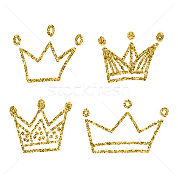 Goud kroon ingesteld geïsoleerd witte koning Stockfoto © kollibri