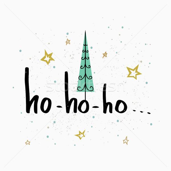 Alegre Navidad saludo tarjeta caligrafía vacaciones Foto stock © kollibri