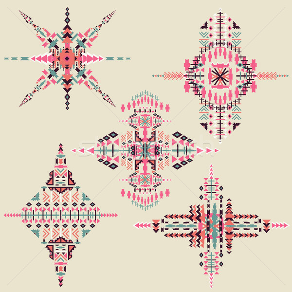 Vector Tribal ethnic ornament. Aztec decor elements. Tribal elements design isolated on pastel backg Stock photo © kollibri