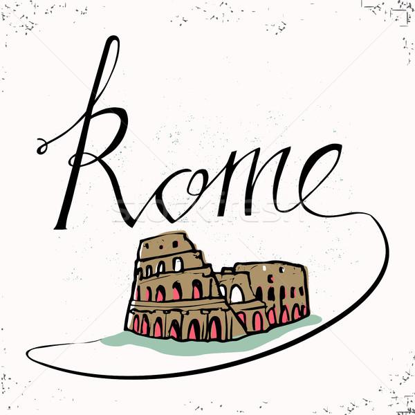 Kéz Colosseum kézzel rajzolt tipográfiai terv vektor Stock fotó © kollibri