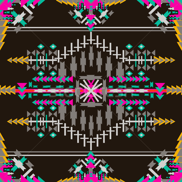 Colorful  aztec seamless pattern on dark background. Ethnic abstract geometric texture. Hand drawn n Stock photo © kollibri