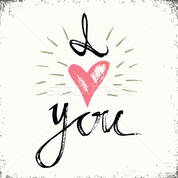 Miłości strony wykonany ręcznie kaligrafia wektora typografii Zdjęcia stock © kollibri