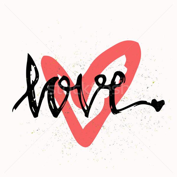Amor elegante cepillo dibujado a mano diseno elementos Foto stock © kollibri