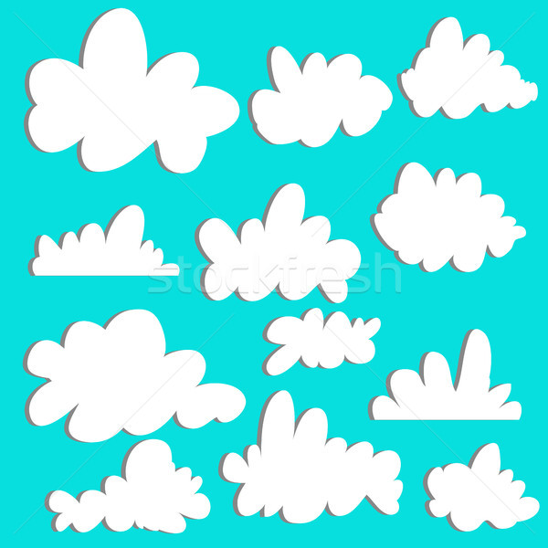 Cute cartoon set of clouds on blue background for logo, web and print. Sky background. Graphic eleme Stock photo © kollibri