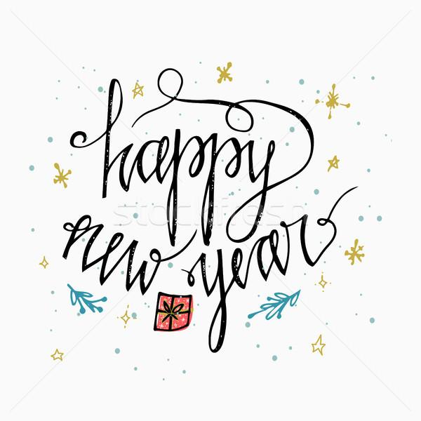 Gelukkig nieuwjaar kaart hand opschrift borstel Stockfoto © kollibri