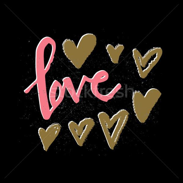 Romantische valentijnsdag liefde kaart schoonschrift briefkaart Stockfoto © kollibri