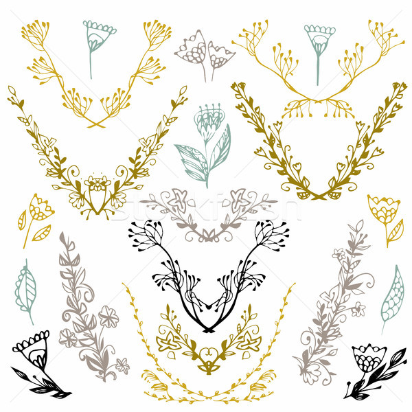 Stock photo: Set of hand drawn symmetrical floral graphic design elements in retro style. Illustration vector. Ha