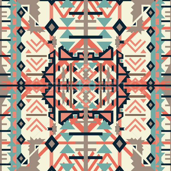 Colorful aztec seamless pattern. Ethnic abstract geometric texture. Hand drawn navajo fabric. Used f Stock photo © kollibri