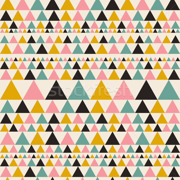 Aztec seamless pattern with triangles. Ethnic abstract geometric texture. Used for wallpaper, web pa Stock photo © kollibri