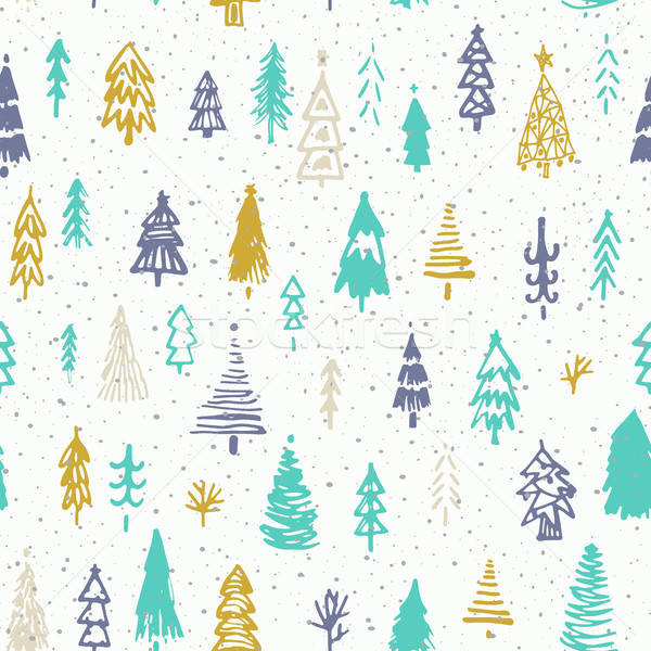Seamless christmas background with cute christmas trees and falling snow. Holiday decoration isolate Stock photo © kollibri